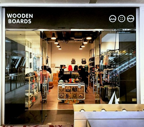 Wooden Boards skateboarding shop in Singapore.