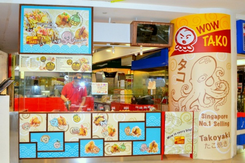 Wow Tako Japanese restaurant at Tampines 1 mall in Singapore.