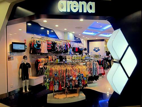 Arena swimwear store at NEX mall in Singapore.