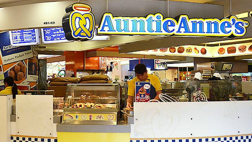 Auntie Anne's pretzel shop at Tampines 1 mall in Singapore.