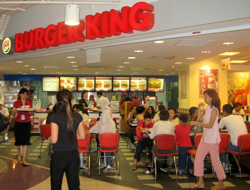 Burger King fast food hamburger restaurant in Singapore.