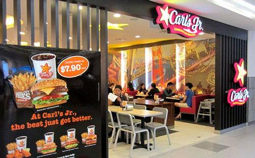 Carl's Jr. fast food restaurant at NEX mall in Singapore.