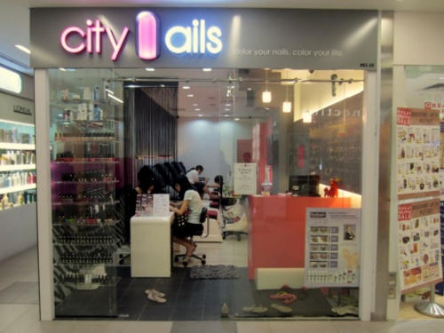 City Nails nail salon at NEX mall in Singapore.