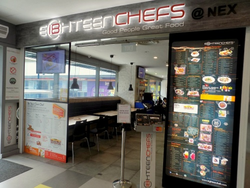 Eighteen Chefs restauranta at nex mall in Singapore.
