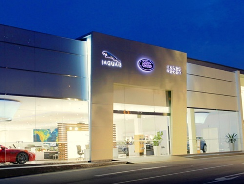 Jaguar car dealership.