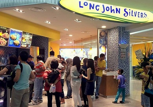 Long John Silver's seafood fast food restaurant at Tampines Mall in Singapore.