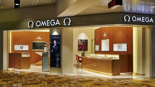 Omega watch store Changi Airport Singapore.