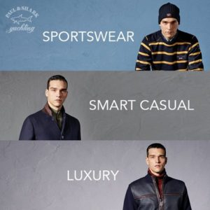 Paul Shark sportswear, smart casual collection, and luxury line.