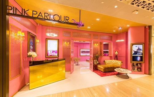 Pink Parlour beauty salon at Capitol Piazza shopping center in Singapore.