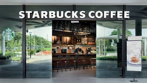 Starbucks coffee shop in Jurong Island in Singapore.