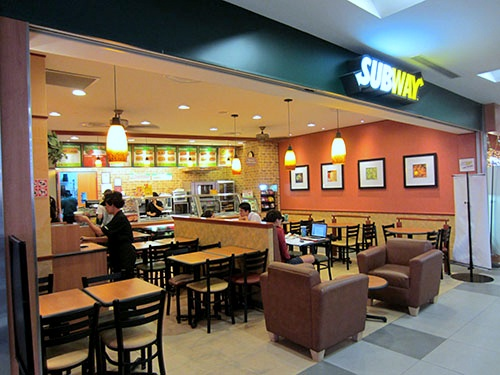 Subway fast food restaurant at nex mall in Singapore.