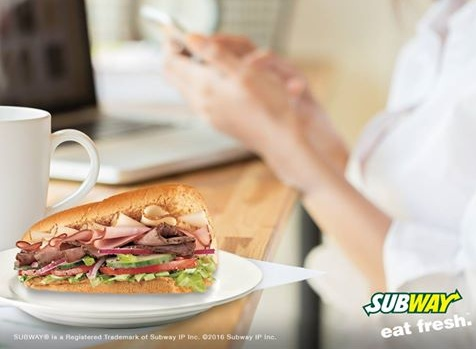 Subway sandwich meal, available in Singapore.