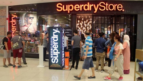Superdry clothing shop at VivoCity mall in Singapore.