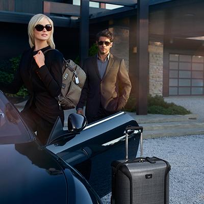 Tumi travel luggage.