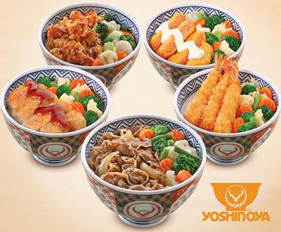 Yoshinoya Japanese meal in Singapore.
