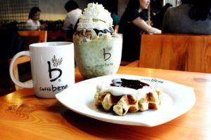 Caffebene coffee, bingsu, and waffle.