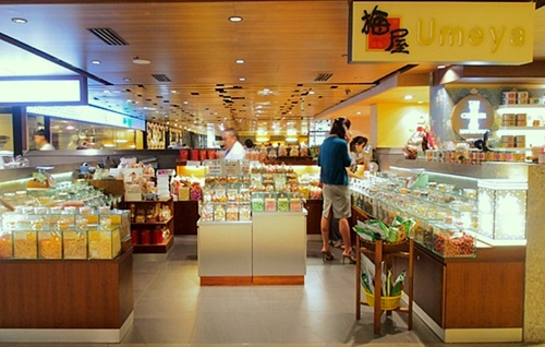 Umeya snack & candy shop Raffles City Singapore.