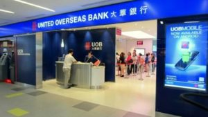 United Overseas Bank (UOB) branch at NEX shopping centre in Singapore.