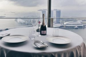 Jaan French restaurant's panoramic views of Singapore.