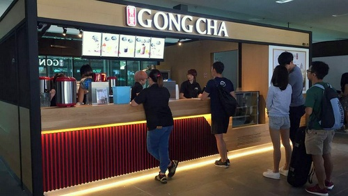 Gong Cha bubble tea shop Singapore Management University Singapore.