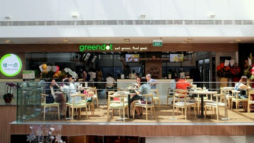 Greendot vegetarian restaurant Paya Lebar Square Singapore.