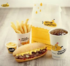 Yellow Submarines fast food meal Singapore.