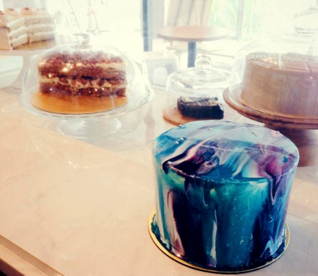 Sugarhaus cafe's Taro Galaxy cake Singapore.