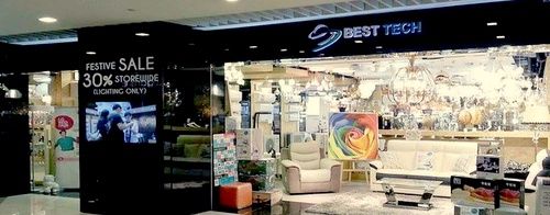 Best Tech aircon, lighting, and furniture store Suntec City Mall Singapore.