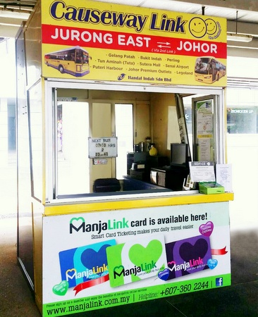 Causeway Link Express bus ticket counter Jurong East Singapore.