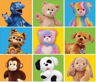 Build-A-Bear Workshop stuffed animals.