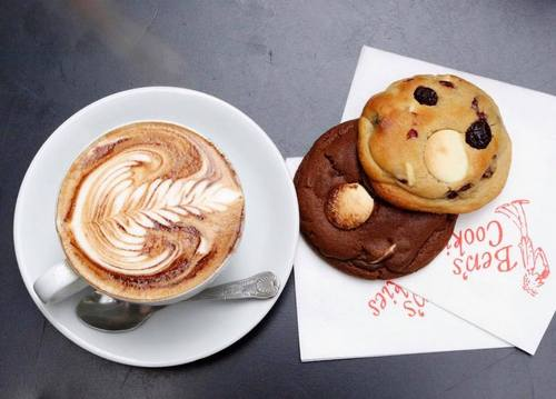 Ben's Cookies' coffee and cookies, available in Singapore.