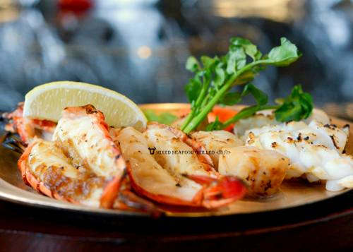 Angus House steakhouse restaurant's Grilled Mixed Seafood meal, available in Singapore.