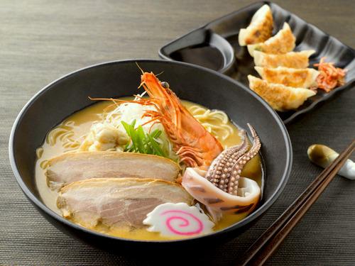 Burosu Honten Gyoza & Ramen's meal, available in Singapore.