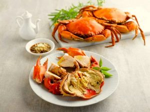 East Ocean Teochew restaurant's Teochew Cold Roe Crab meal, available in Singapore.