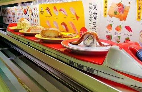 Genki Sushi's sushi train in Singapore.
