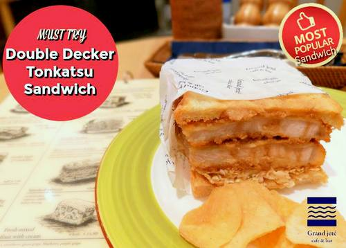 Grand jeté cafe & bar Double Decker Tonkatsu Sandwich, available in Singapore.