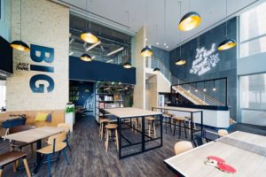 JustCo coworking space and hotdesking office in Singapore.