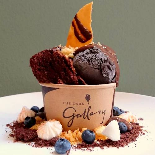 The Dark Gallery chocolate ice-cream dessert, available in Singapore.