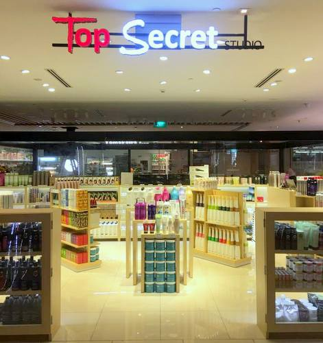 Top Secret Studio hair care products store in Singapore.
