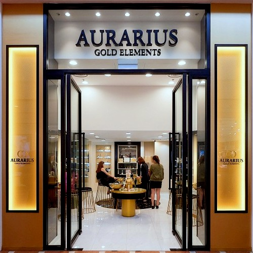 Aurarius Gold Elements cosmetics shop at Jurong Point mall in Singapore.