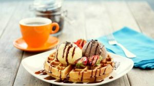 O'Coffee Club's coffee and waffles.