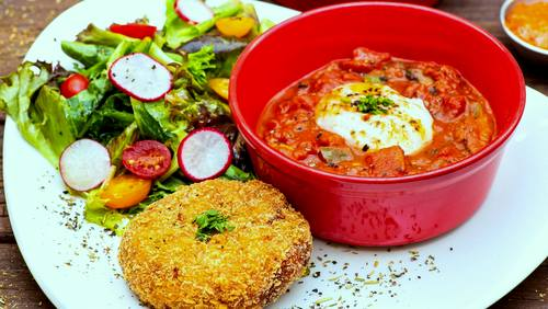 redpan restaurant's Mushroom Shashuka and Sous-vide Eggs, available in Singapore.