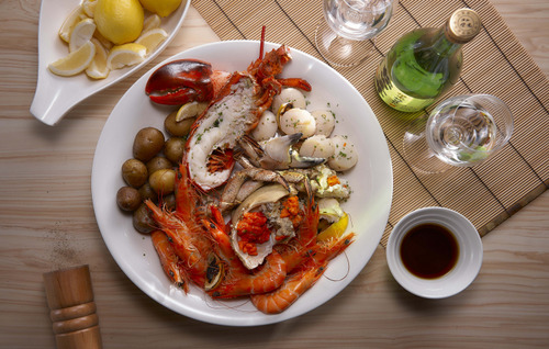 UMI+VINO Seafood Winebar's meal, available in Singapore.