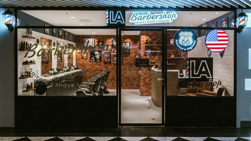 LA Barbershop at Jurong Point shopping centre in Singapore.