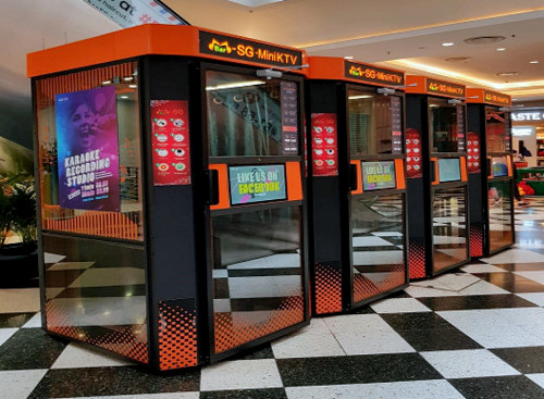 M Bar karaoke booths at Jurong Point mall in Singapore.