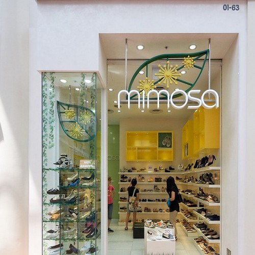 Mimosa shoe store at Jurong Point mall in Singapore.