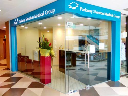 Parkway Shenton medical clinic at Bukit Panjang Plaza mall in Singapore.