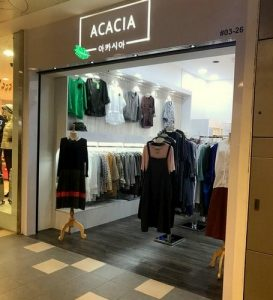 Acacia clothing store at Tampines 1 mall in Singapore.