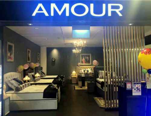 Amour furniture & mattress shop at Tampines 1 mall in Singapore.