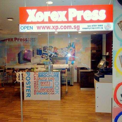 Xorex Press print shop in Singapore.